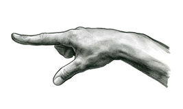 Finger Touch. Pencil drawing (sketch) Finger Touch Royalty Free Stock Photo