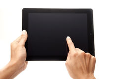 Finger and touch screen royalty free stock photos