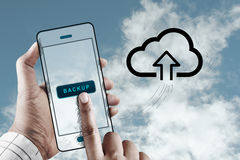 Finger Touch a Screen with Cloud Storage Icon Stock Photography