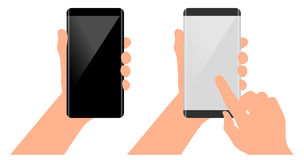 Finger on the touch screen. Phone in hand. Mockups with blank screen. Mobile concept in hand. Finger on the touch screen. Phone with curved edge in hand. Mockups Stock Photography