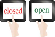 Finger touch screen tablet pc - open closed theme Stock Photo