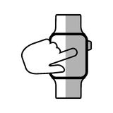 Finger touch smart watch wearable shadow. Vector illustration eps 10 Royalty Free Stock Image