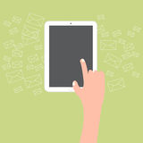 Finger touch tablet with email icon background.  Royalty Free Stock Photo