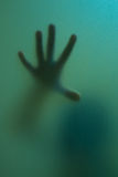 finger touch to frosted glass Stock Images