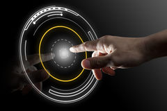 Finger touch virtual button. With black background Stock Image