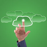 Finger touches the clouds Royalty Free Stock Images