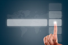 Finger Touching Blank Button Stock Images