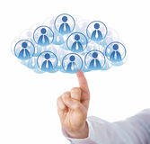 Finger Touching Cloud Of Many Office Worker Icons Royalty Free Stock Photography