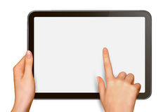 Finger touching digital tablet screen Royalty Free Stock Image