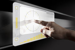 Finger Touching Digital Touch Screen Royalty Free Stock Photos