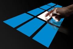 Finger Touching Digital Touch Screen. Finger Touching  Blue Digital Touch Screen Stock Images