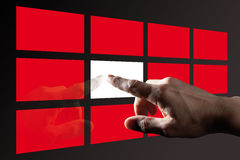 Finger Touching Digital Touch Screen. Finger Touching  Red Digital Touch Screen Royalty Free Stock Photography