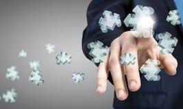 Finger touching icon Stock Photo
