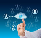 Finger Touching A Locked Corporate Cloud Network Stock Images