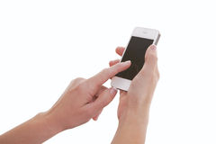 Finger Touching Smartphone Screen Royalty Free Stock Photo