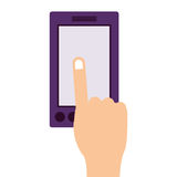 Finger touching a smartphone screen. Illustration Stock Photo