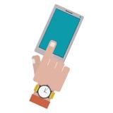 Finger touching a smartphone screen. Vector illustration vector illustration Stock Photography