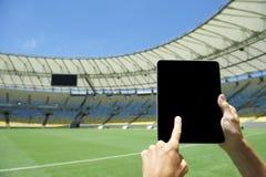 Finger Touching Tablet Football Stadium Rio Brazil