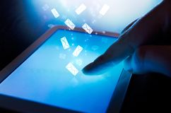 Finger touching on tablet. Stock Images