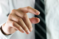 Finger touching virtual interface Stock Image