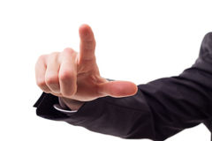 Finger touching virtual screen Royalty Free Stock Image