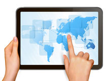 Finger touching world map on a touch screen. Vector Royalty Free Stock Photo