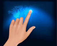 Finger touching world map on a touch screen. Vecto Stock Photo