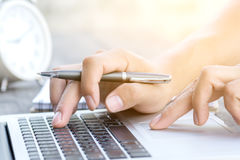 Finger on touchpad of laptop Royalty Free Stock Image