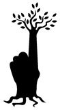 Finger tree. Illustration of tree branches and roots from a human hand Stock Images