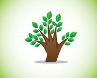 Finger tree illustration. Design,combination of hand and tree Stock Photography