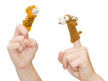 Finger-type theatre with puppets Stock Photos