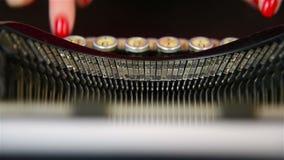 Finger Typing on Typewriter. Finger Typing on Vintage Typewriter. Slow motion effect stock footage
