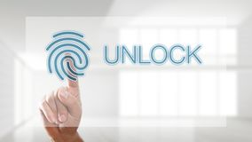 Finger unlocking interface with fingerprint Stock Photography
