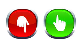 Finger up and down. Two icons with a green that signals a positive trend and the red negative Stock Photography