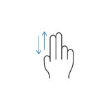2 Finger up and down line icon, hand gestures. 2 Finger up and down line icon, touch and hand gestures, vector graphics, a color linear pattern on a white Royalty Free Stock Image