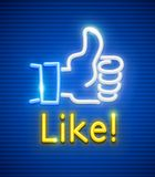 Finger up with like gesture neon symbol. Finger up with like gesture. Neon symbol popular icon for communication in social networks. EPS10 vector illustration Royalty Free Stock Photos