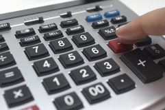 Finger Using Calculator Royalty Free Stock Photography