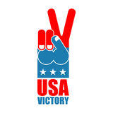 Finger victory USA. America win hand. Symbol of USA Patriot. Ame Stock Photography