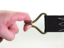 Finger vs hook on the white background Royalty Free Stock Images