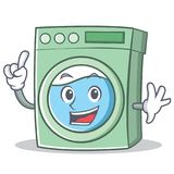 Finger washing machine character cartoon. Vector illustration Stock Photos