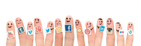 Free Finger With Popular Social Media Logos Printed On Paper. Stock Image - 44254641