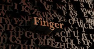 Finger - Wooden 3D rendered letters/message. Can be used for an online banner ad or a print postcard Royalty Free Stock Image