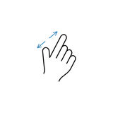 2 Finger zoom in line icon, hand gestures. 2 Finger zoom in line icon, touch and hand gestures, vector graphics, a color linear pattern on a white background royalty free illustration