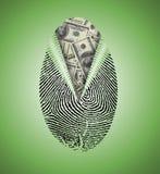 Fingerabdruck deckt Bargeld auf Lizenzfreies Stockfoto
