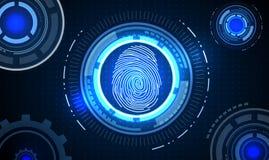 Fingerabdruck mit blauem abstraktem Technologiehintergrund des Konzeptes Lizenzfreie Stockfotografie