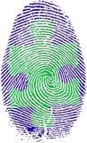 Fingerabdruck mit Puzzlespiel Stockbild