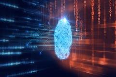 Fingerabdruck-Scannen auf blauer Technologie Illustration Lizenzfreies Stockfoto