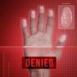 Fingerabdruck-Sicherheit - verweigert Stockfoto