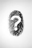 Fingerabdruck und Fragezeichen stockbilder
