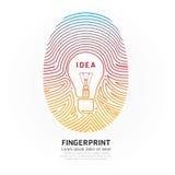 Fingerabdruckglühlampenfarbvektor-Designillustration. Stockfotografie